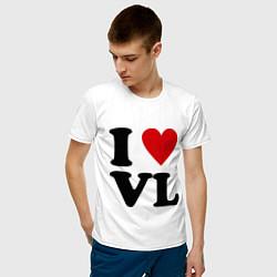 Футболка хлопковая мужская I love VL цвета белый — фото 2