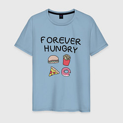 Футболка хлопковая мужская Forever Hungry цвета мягкое небо — фото 1