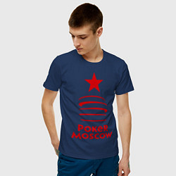 Футболка хлопковая мужская Poker Moscow цвета тёмно-синий — фото 2