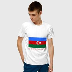 Футболка хлопковая мужская Азербайджан цвета белый — фото 2