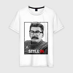 Футболка хлопковая мужская Stalin: Style in цвета белый — фото 1