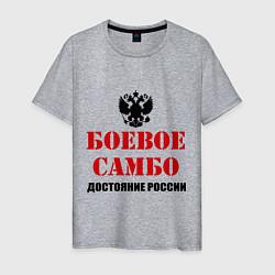 Футболка хлопковая мужская Боевое самбо России цвета меланж — фото 1
