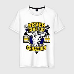 Футболка хлопковая мужская Never Give Up: Cenation цвета белый — фото 1
