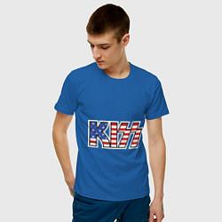 Футболка хлопковая мужская KIss USA цвета синий — фото 2