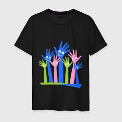 Футболка хлопковая мужская Hands Up цвета черный — фото 1