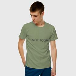 Мужская хлопковая футболка с принтом Not today, цвет: авокадо, артикул: 10129760000001 — фото 2