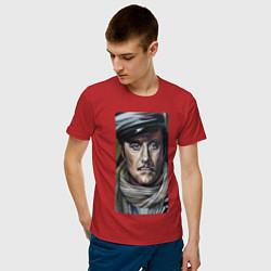 Футболка хлопковая мужская Остап Бендер: портрет цвета красный — фото 2