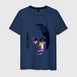 Футболка хлопковая мужская John Lennon: Techno цвета тёмно-синий — фото 1