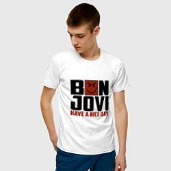 Футболка хлопковая мужская Bon Jovi: Nice day цвета белый — фото 2