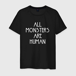 Футболка хлопковая мужская All Monsters Are Human цвета черный — фото 1