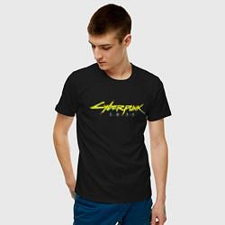 Футболка хлопковая мужская Cyberpunk 2077 цвета черный — фото 2