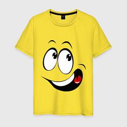 Футболка хлопковая мужская Смайл01 цвета желтый — фото 1