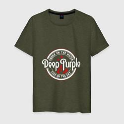 Футболка хлопковая мужская Deep Purple: Fire on the Sky цвета меланж-хаки — фото 1