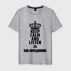 Футболка хлопковая мужская Keep Calm & Listen Die Antwoord цвета меланж — фото 1