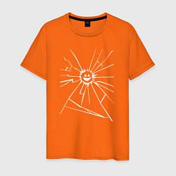 Футболка хлопковая мужская Mirror Smile цвета оранжевый — фото 1