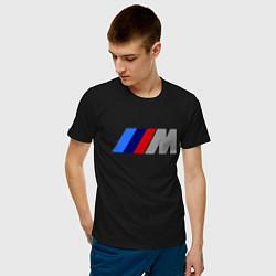 Мужская хлопковая футболка с принтом BMW M, цвет: черный, артикул: 10014389400001 — фото 2