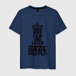 Футболка хлопковая мужская Keep Calm & Listen Suicide Silence цвета тёмно-синий — фото 1