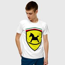 Футболка хлопковая мужская Ferrari: Kid Horse цвета белый — фото 2