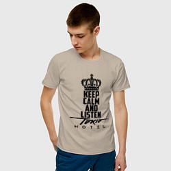 Футболка хлопковая мужская Keep Calm & Listen Tokio Hotel цвета миндальный — фото 2