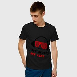 Футболка хлопковая мужская My music my life цвета черный — фото 2