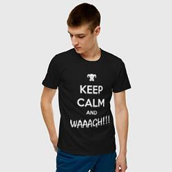 Футболка хлопковая мужская Keep Calm & WAAAGH цвета черный — фото 2