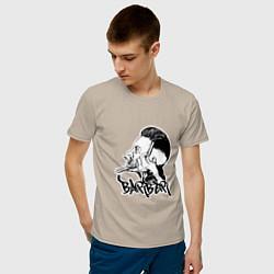Футболка хлопковая мужская Black Barber цвета миндальный — фото 2