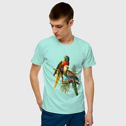 Мужская хлопковая футболка с принтом Тропические попугаи, цвет: мятный, артикул: 10147819300001 — фото 2