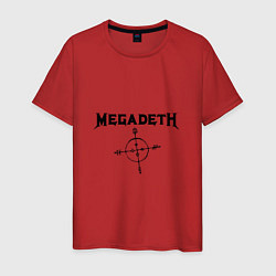 Футболка хлопковая мужская Megadeth Compass цвета красный — фото 1