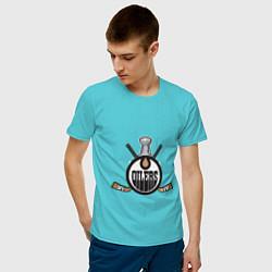 Футболка хлопковая мужская Edmonton Oilers Hockey цвета бирюзовый — фото 2