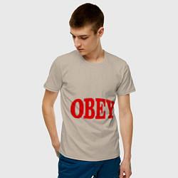 Футболка хлопковая мужская OBEY цвета миндальный — фото 2