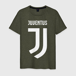Футболка хлопковая мужская FC Juventus цвета меланж-хаки — фото 1