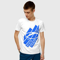Мужская хлопковая футболка с принтом A state of trance, цвет: белый, артикул: 10014954900001 — фото 2