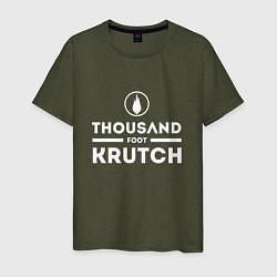 Футболка хлопковая мужская Thousand Foot Krutch цвета меланж-хаки — фото 1