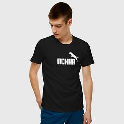 Футболка хлопковая мужская Псина-пума цвета черный — фото 2