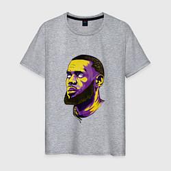 Мужская хлопковая футболка с принтом Демонский Леброн, цвет: меланж, артикул: 10158518900001 — фото 1