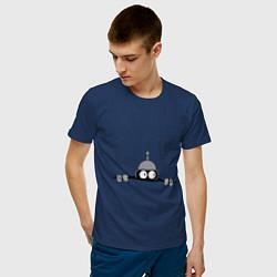 Футболка хлопковая мужская Бэндер подглядывает цвета тёмно-синий — фото 2