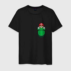 Футболка хлопковая мужская Марио в кармане цвета черный — фото 1