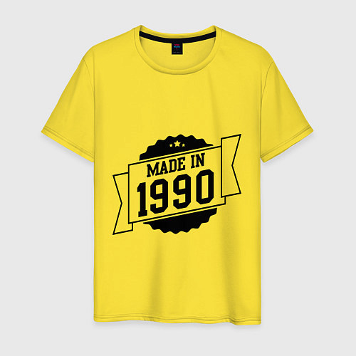 Мужская футболка Made in 1990 / Желтый – фото 1