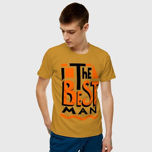 Мужская футболка The best man / Горчичный – фото 3
