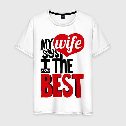 Мужская футболка Wife says / Белый – фото 1