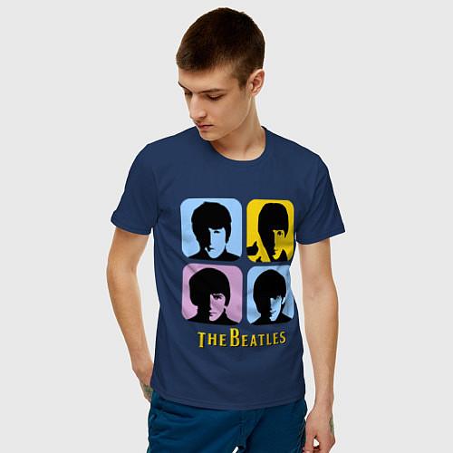 Мужская футболка The Beatles: pop-art / Тёмно-синий – фото 3