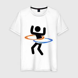 Футболка хлопковая мужская Portal Рoops цвета белый — фото 1