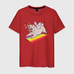 Футболка хлопковая мужская Мопс-единорог цвета красный — фото 1