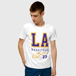 Мужская хлопковая футболка с принтом Lebron 23: Los Angeles, цвет: белый, артикул: 10162967900001 — фото 2