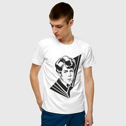Футболка хлопковая мужская Юный Есенин цвета белый — фото 2