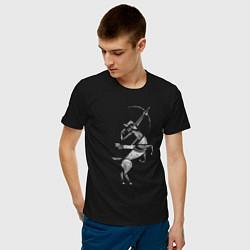 Футболка хлопковая мужская Звездный Стрелец цвета черный — фото 2