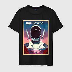 Футболка хлопковая мужская SpaceX: Astronaut цвета черный — фото 1