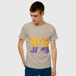 Мужская хлопковая футболка с принтом King James, цвет: миндальный, артикул: 10166745500001 — фото 2