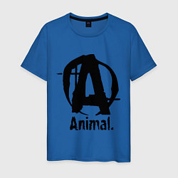Футболка хлопковая мужская Animal Logo цвета синий — фото 1