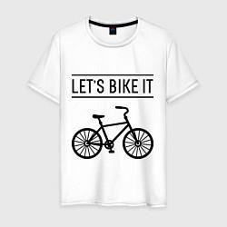 Футболка хлопковая мужская Lets bike it цвета белый — фото 1